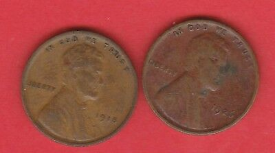 One Cent Us Wheat Ears Bronze Coin Circulated X2 1918/1926