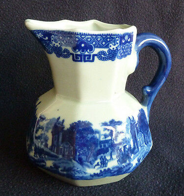 Lovely  Ironstone 13 cm 400 ml Octagonal Jug Victoria Ware Flow Blue Style