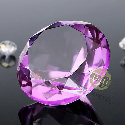 Purple Crystal Paperweights Cut Glass Giant Diamond Shaped Jewel Decor Gift 40mm