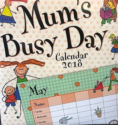 Mum's Busy Day 2018 Square Wall Calendar