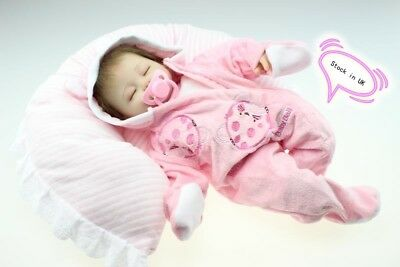 Lifelike 18'' Reborn Baby Doll Soft Silicone Vinyl Newborn Lovely Sleeping Girl