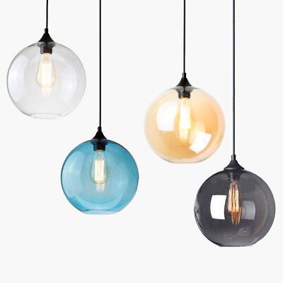 Modern Vintage Globe Glass Pendant LED Industrial Hanging Lamp Ceiling Lighting