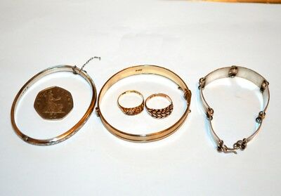 Gold & silver jewellery mixed lot 9ct 18ct Edwardian & later 3 x bracelets & 2