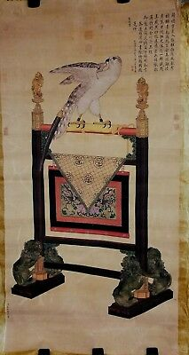 CG 126 Chinese Hand Painted Painting, Bird and Stand, Sealed and Signed