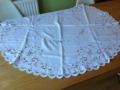 Vintage White Linen Embroidered Round Tablecloth