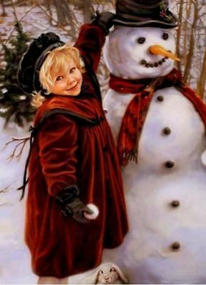 RARE! Kids LITTLE GIRL Snowman SANDRA CUCK #2 Collection modern card