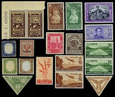 Italy and Colonies, 16 mint stamps including an u/m corner pair of SG723