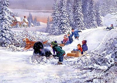 RARE! LITTLE KIDS Boy Girls Sledging Dog Winter Forest #8 Collection modern card