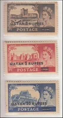 QATAR 1957 OVERPRINT ON GREAT BRITAIN 2Rs, 5Rs, AND 10Rs, MINT, NH