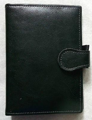 Quality Handmade Filofax Style Fine Black Leather Pocket Organiser Uk