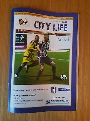 **WORCESTER CITY v SOUTH NORMANTON ATHLETIC OCTOBER 14th 2017/18~FREE POSTAGE**