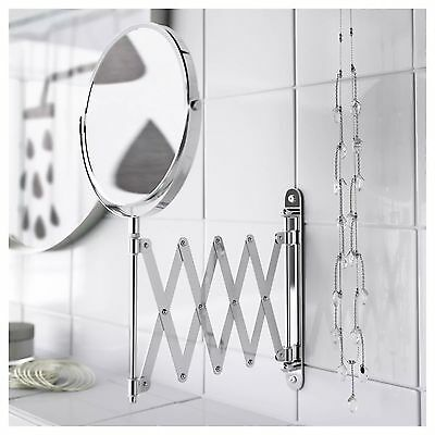 New Ikea Frack Extendable Shaving Mirror Stainless Steel Round Magnifying Wall