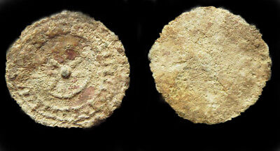 Judean Hasmonean Large Lead Coin from coin hoard with DOCUMENTATION (Lot 3 of 4)