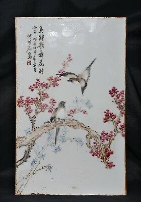 Nice Rare Old China Hand Painting Landscape Famille Porcelain Panel Plaque FA376