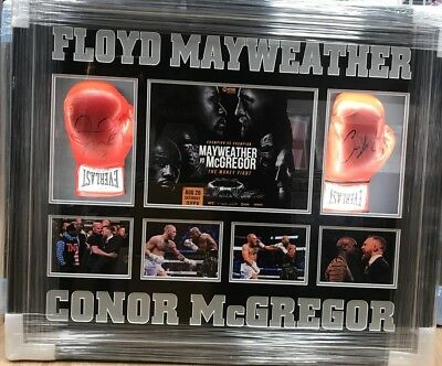 Framed Conor Mcgregor And Floyd Mayweather Signed Boxing Glove RARE COA