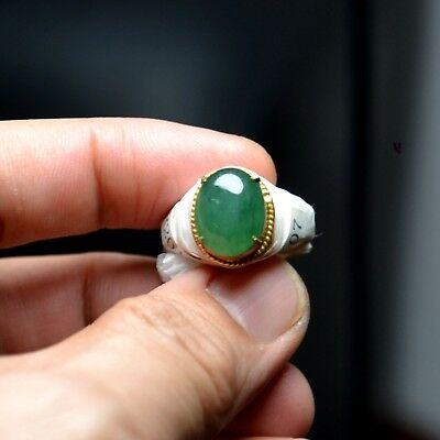 699$ Fine Type A Imperial Green Jadeite Jade Cabs Cabochon Ring