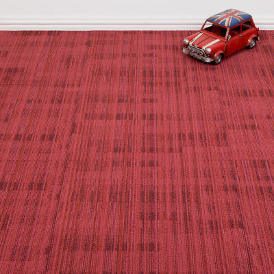 Heavy Duty Tessera Quality Office Carpet Tiles - Striped Pattern - Red - 4m2