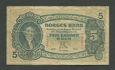 NORWAY - 5 kroner  1915  P7a  About Fine  ( World Paper Money )