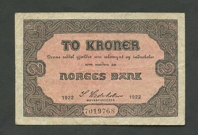 NORWAY - 2 kroner  1922  P14b  Fine  ( World Paper Money )