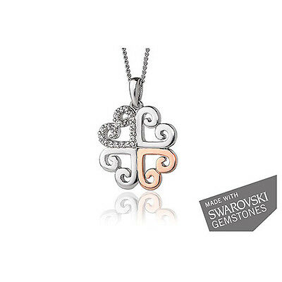"Official Welsh Clogau Silver & Rose Gold Affinity Heart Pendant (22"") £100 off!"