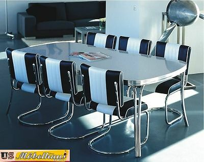 TO-28 Bel Air Diner Kitchen Table Conference with 6 Chairs Fifties Style Retro