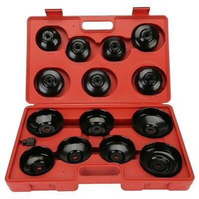 14Pcs Oil Filter Aluminium Cup Type Wrench Removal Socket Remover Tool Kit