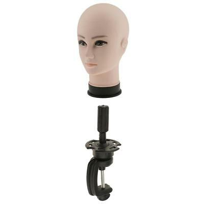 Female Mannequin Manikin Display Head with Desk Table Clamp Stand Holder Set