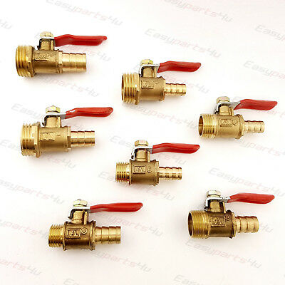 Brass BSP Ball Valve Male Thread to Hose Tail Connector Pipe Fittings Tubing Air