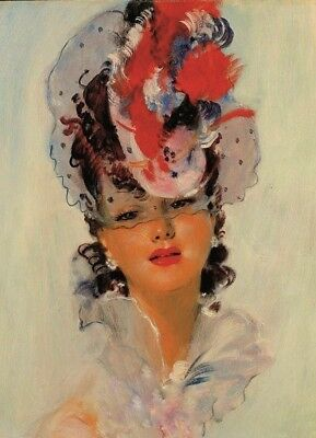 Young lady  Art Jean-Gabriel Domergue #3 Collection modern card reprint
