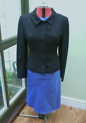 Paddy Campbell Black 100% Wool Fitted Tailored Jacket Ladies Size 14 - Worn Once