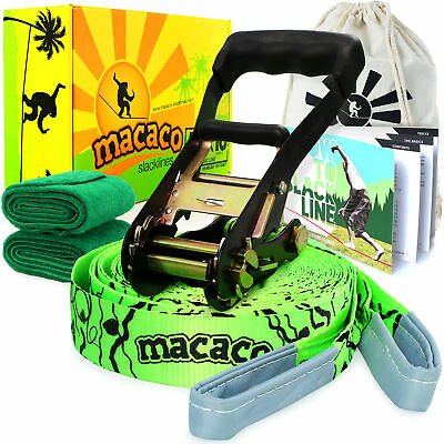 BOX DAMAGED Macaco Slackline - 16m (50mm Wide) Ratchet, Carry Bag & Instructions