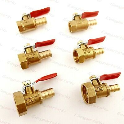 Brass BSP Ball Valve | Female Thread to Hose Tail Connector Pipe Fittings Tubing