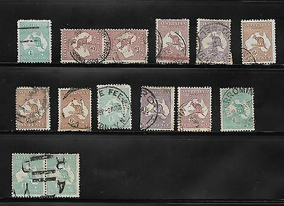 Australia Stamps Kangaroos - Used - Watermarks Crowns & A's #4