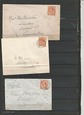 King George V covers with place names Lewanniok,Bratton Clovelly, Delabole, two