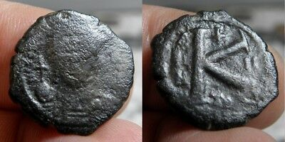104AM  Byzantine - MAURICE TIBERIUS  582-602 A.D. - 1/2 FOLLES  - DATED