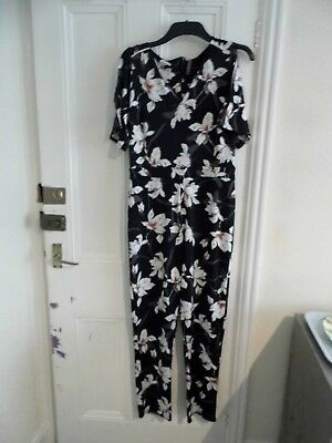 Bnwot Black/multi Floral Design, Cold Shoulder Jumpsuit Size 10