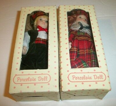 "Porcelain Dolls Miniatures Boy & Girl Christmas Theme 5"" Long # 7046-8 Boxed NEW"