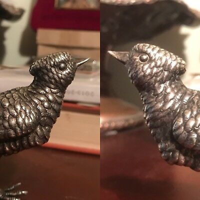Antique Solid Silver Figure Of Crested Song Bird Pheasant Starling No Scrap