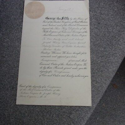 CIE Bestowal Document . George V Signed 1913