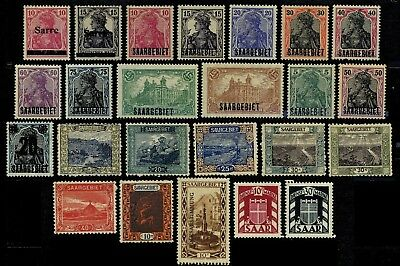 Saar, 24 different, mostly unmounted or lightly mounted mint stamps
