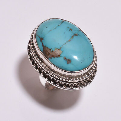 925 Solid Sterling Silver Setted Ring Turquoise Handmade (BDCE)