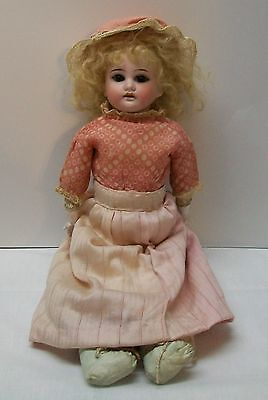 Bisque Doll Leather Cow Hide Wrapped Body Glass Eyes Teeth Marked 1894 Antique