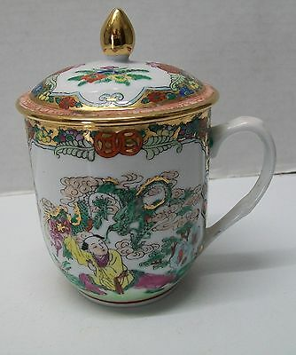Lidded Cup with Green Dragon Man Woman Flowers Designs Vintage Chinese