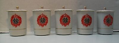 Sake or Teacup Lidded Red Phoenix and Dragon with Orb Vintage Chinese set 10pc