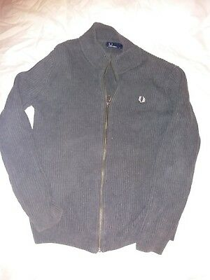 Fred Perry Men's Zip up Cardigan/Grey Ribbed/size Large