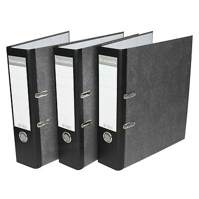 3 x Black 75mm A4 Lever Arch Files Paper Document Large Storage File Folders