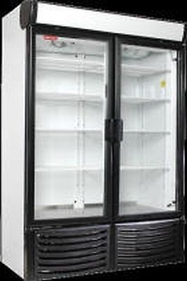 New 2 Two Door Glass Display Soda Cooler Refrigerator  Swing Led Lights 80X54X28