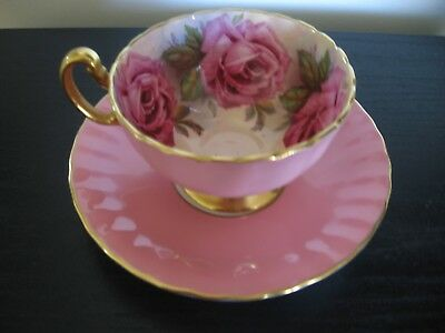 Aynsley Dusty Pink Ring Of Pink Cabbage Roses Teacup And Saucer