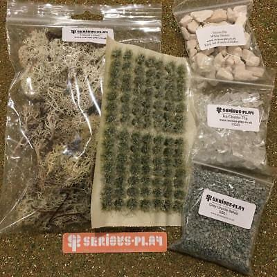 S-P Snow Basing Bundle -Model Scenery wargame static grass Tufts Ice scatter set