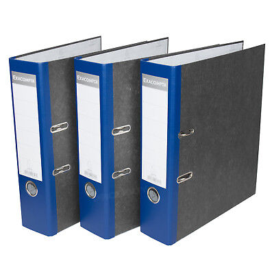 3 x Blue 75mm A4 Lever Arch Files Paper Document Large Storage File Folders